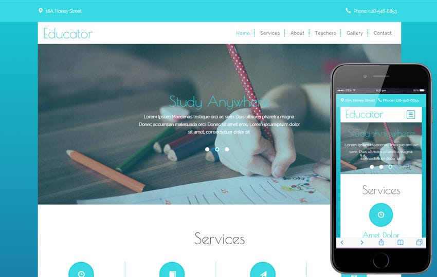Educator a Educational Category Flat Bootstrap Responsive web template Mobile website template Free