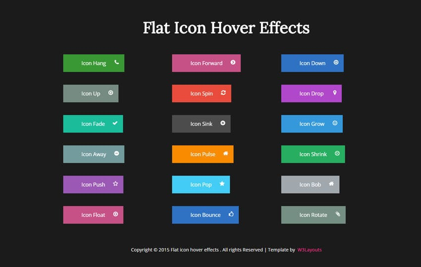 Flat Icon Hover Effects Responsive Widget Template by w3layouts