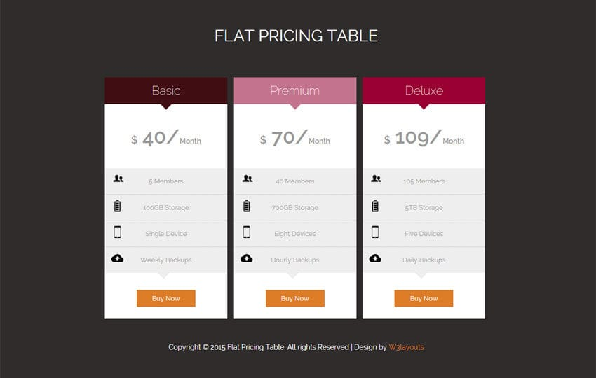 Flat pricing tables responsive widget template by w3layouts for Pricing table design