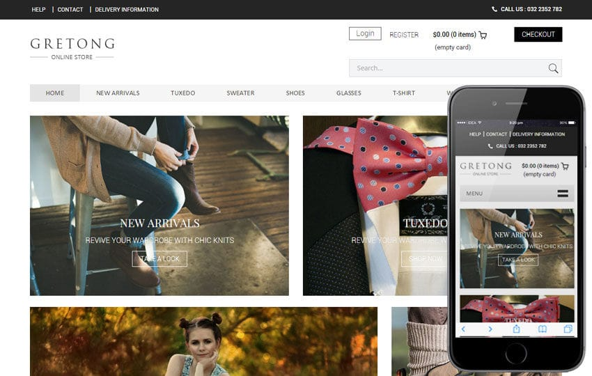 Gretong a Flat Ecommerce Bootstrap Responsive Web Template Mobile website template Free