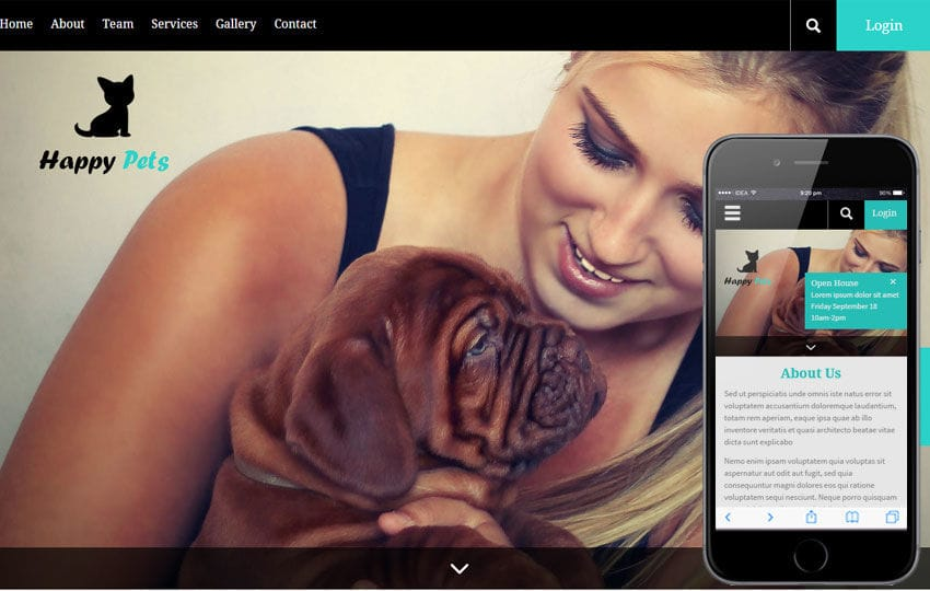 Happy Pets a Animal Category Flat Bootstrap Responsive Web Template Mobile website template Free