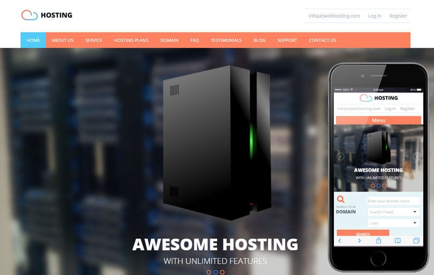 Web Hosting domain sales mobile iphone and web templates