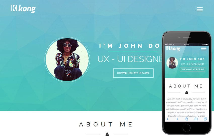 Kong a Personal Portfolio Flat Bootstrap Responsive Web Template Mobile website template Free