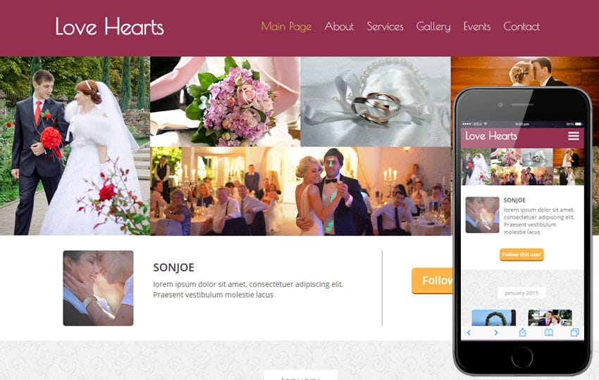 Love hearts a wedding planner flat bootstrap responsive Planner websites