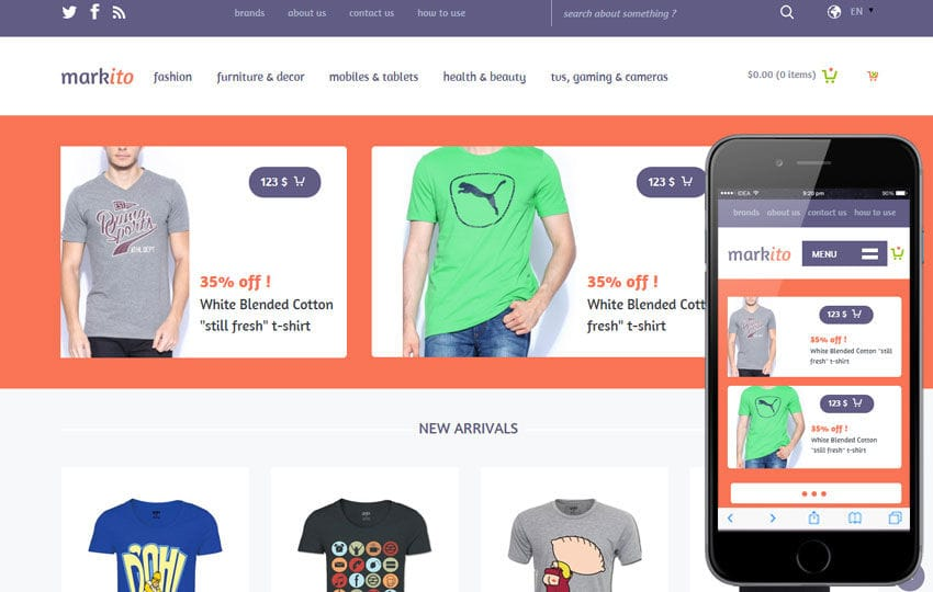 Markito a Flat Ecommerce Bootstrap Responsive Web Template Mobile website template Free