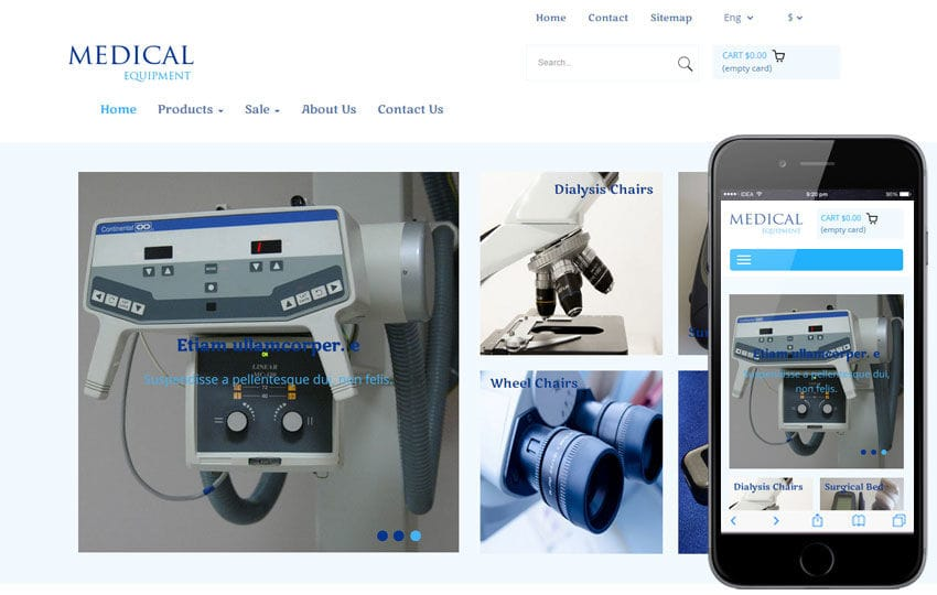Medical Equipment a Medical Category Flat Bootstrap Responsive Web Template Mobile website template Free