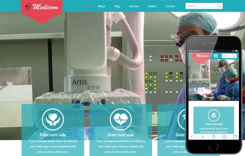 Medicom a Medical Category Flat Bootstrap Responsive Web Template Mobile website template Free