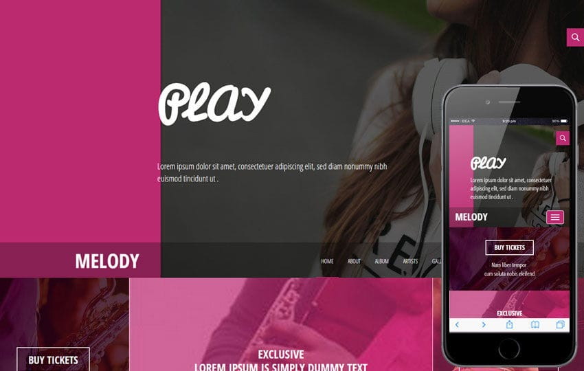 Melody a Entertainment Category Flat Bootstrap Responsive web template Mobile website template Free