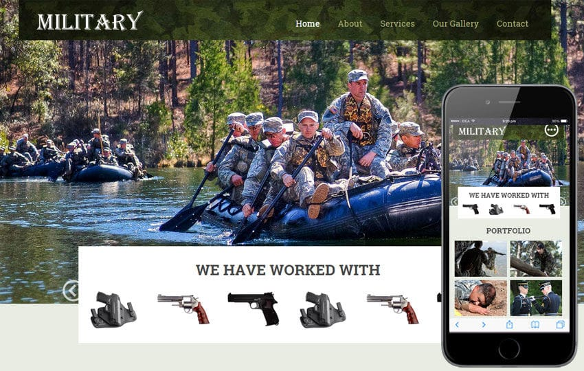 Military a Educational Category Flat Responsive web template Mobile website template Free