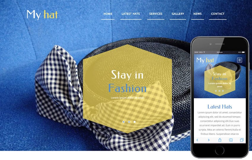 My Hat a Fashion Category Flat Bootstrap Responsive Web Template Mobile website template Free