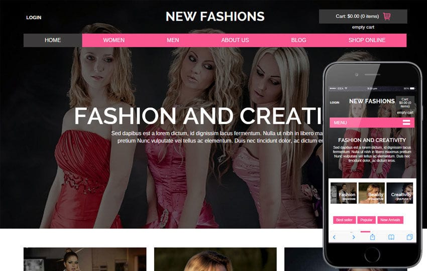 New Fashions a Flat Ecommerce Bootstrap Responsive Web Template Mobile website template Free