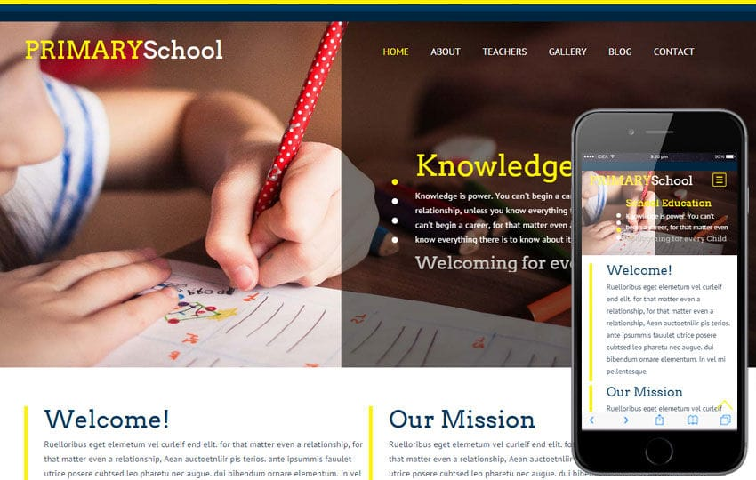 Primary School a Educational Category Flat Responsive web template Mobile website template Free
