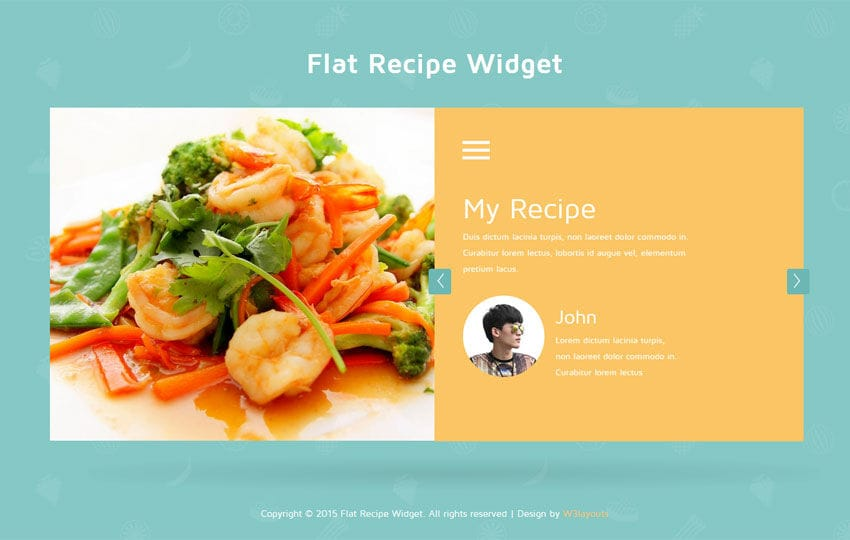 Flat recipe responsive widget template by w3layouts flat recipe responsive widget template forumfinder Images