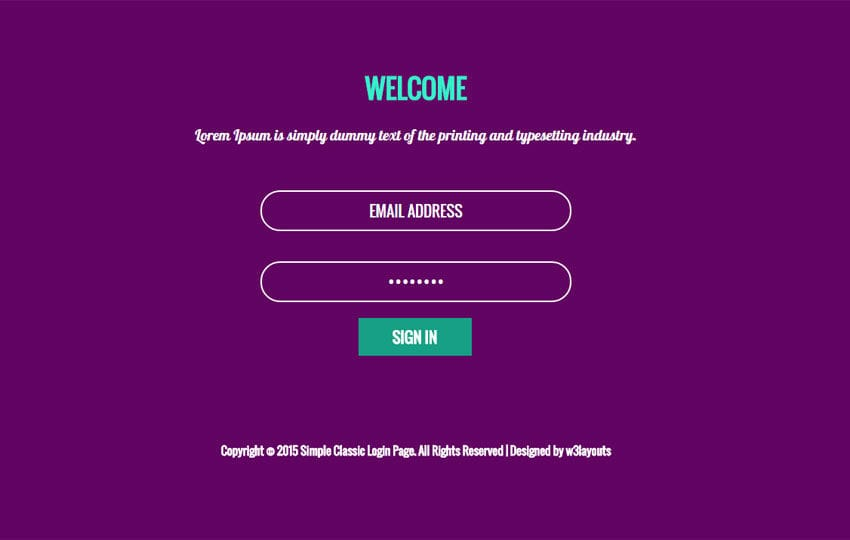 simple classic login form responsive widget template by w3layouts