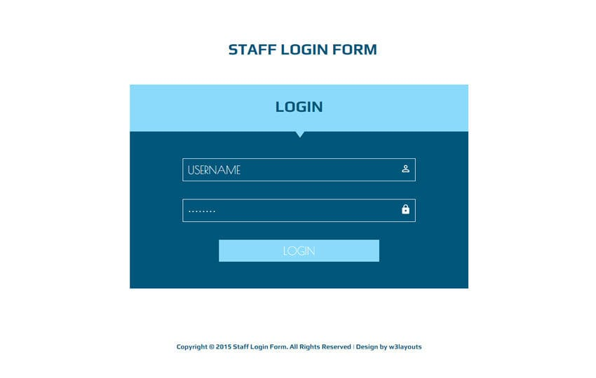 Staff Login Form Responsive Widget Template by w3layouts