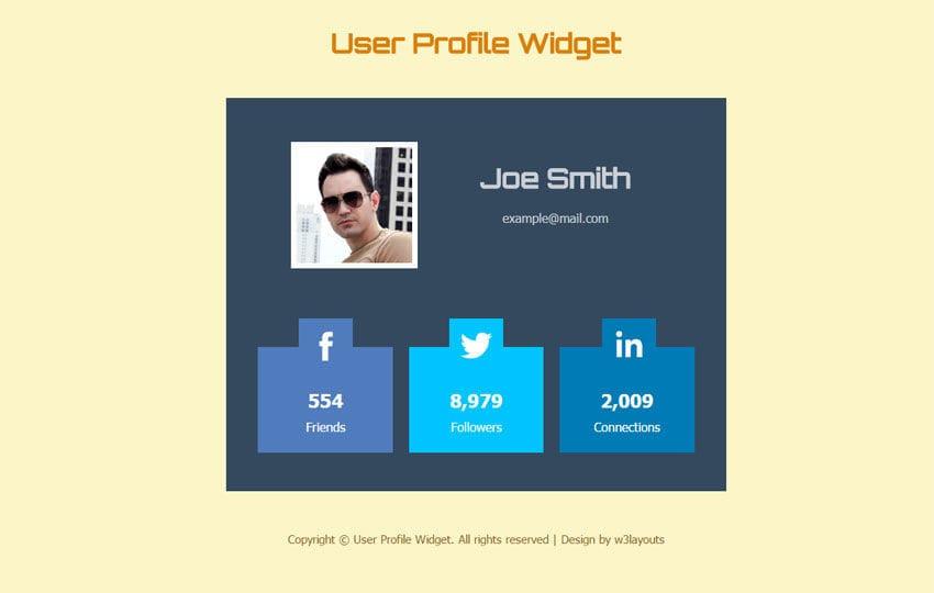 user profile widget responsive template