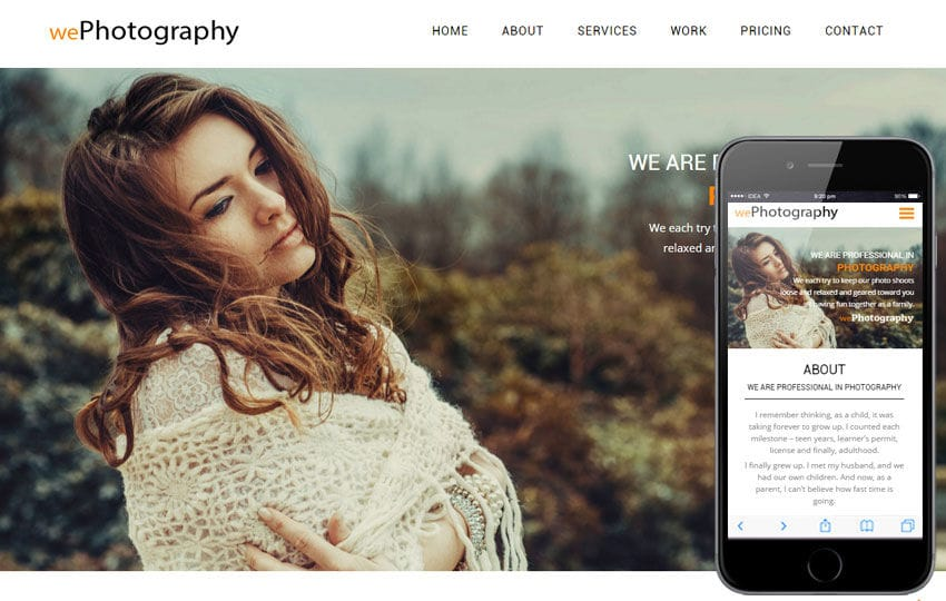 We Photography A Photographer Portfolio Flat Bootstrap Responsive - Free photography website templates