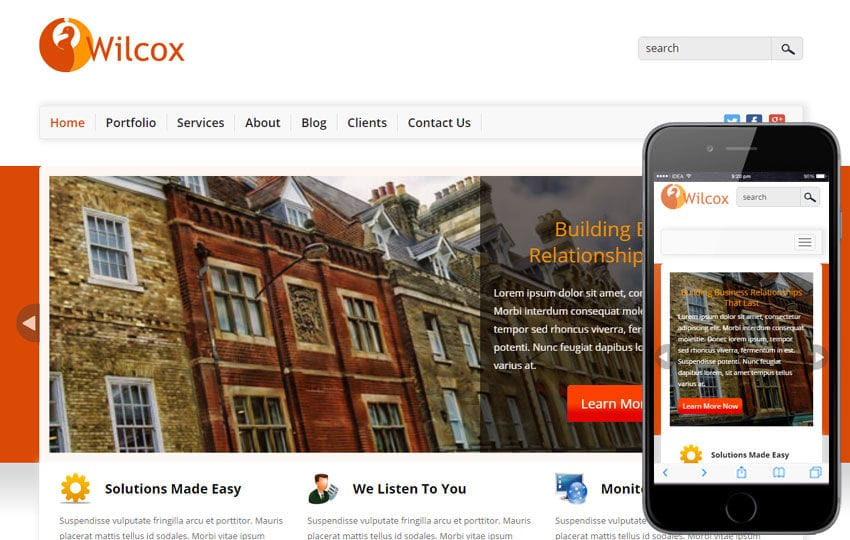 Wilcok a Corporate Business Flat Bootstrap Responsive Web Template Mobile website template Free