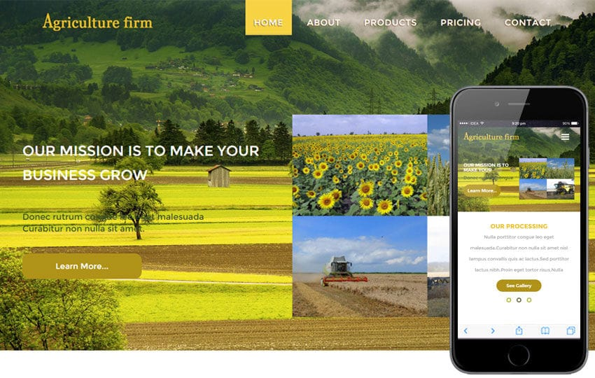 Agriculture Firm a Agriculture Category Flat Bootstrap Responsive Web Template Mobile website template Free