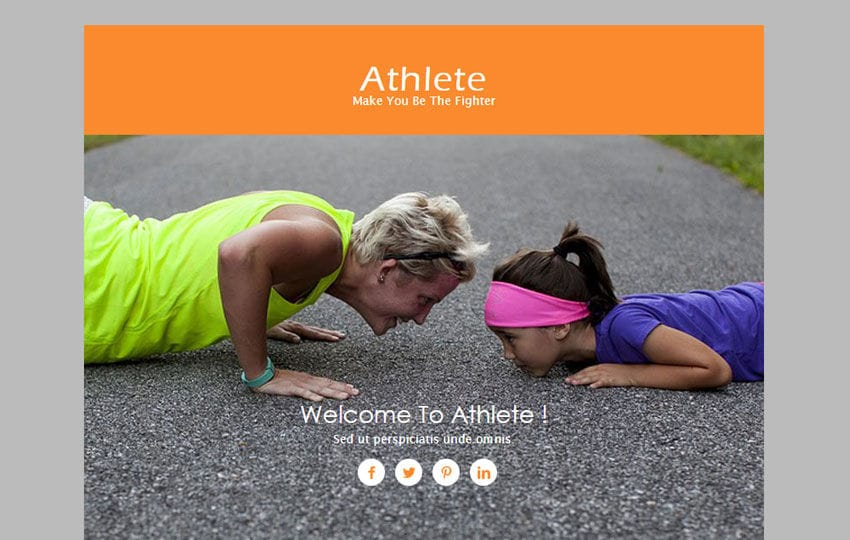 Athlete a Newsletter Responsive Web Template Mobile website template Free