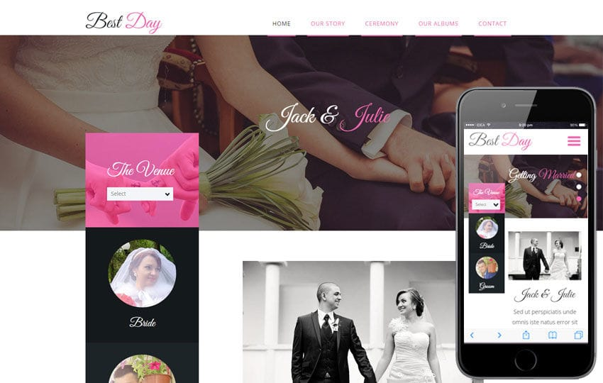 Best Day a Wedding Planner Flat Bootstrap Responsive Web Template Mobile website template Free