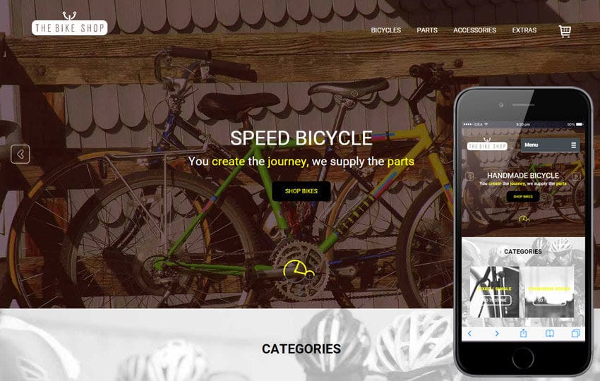 Bike Shop a Flat Ecommerce Bootstrap Responsive Web Template Mobile website template Free