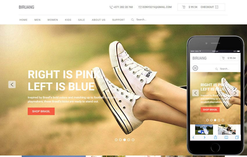 Biruang a Flat eCommerce Responsive Web Template Mobile website template Free