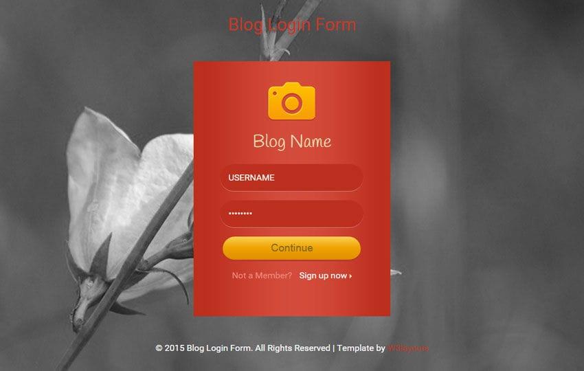 Flat Blog Login Form Widget Template Mobile website template Free