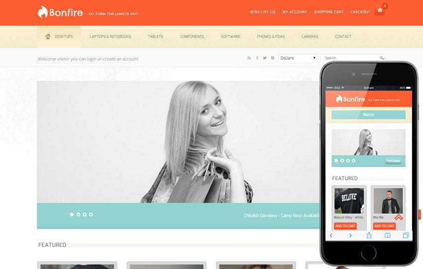 Bonfire a Flat Ecommerce Bootstrap Responsive Web Template Mobile website template Free