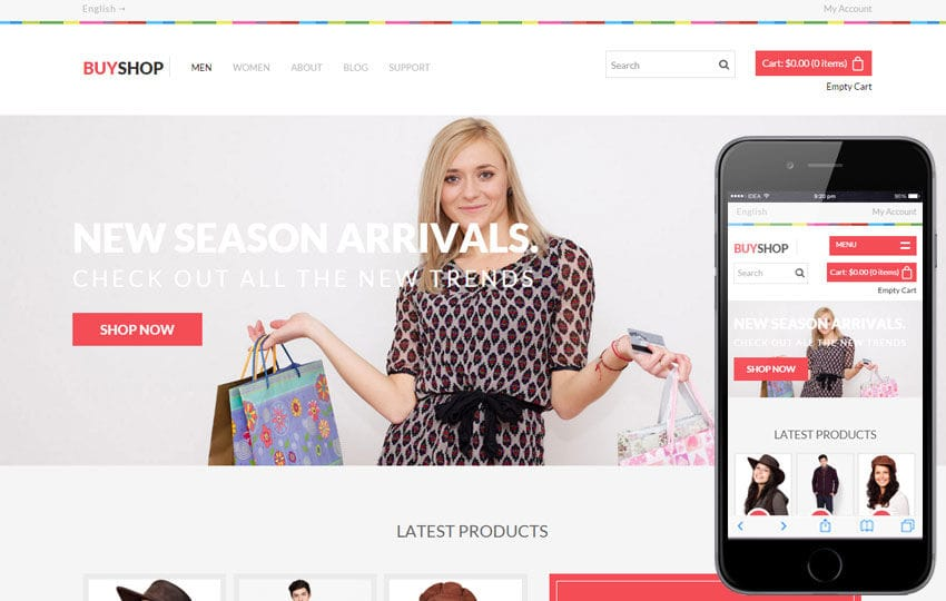 Buy Shop a Flat eCommerce Responsive Web Template Mobile website template Free