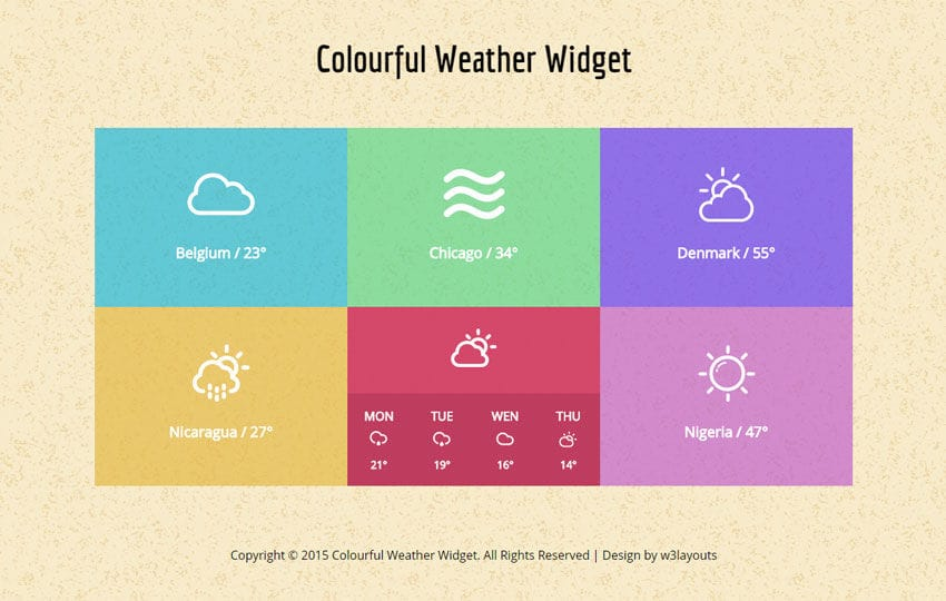 Colourful Weather Widget Responsive Template