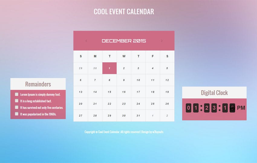 Calendar Templates Html Css : Cool event calendar responsive widget template w layouts