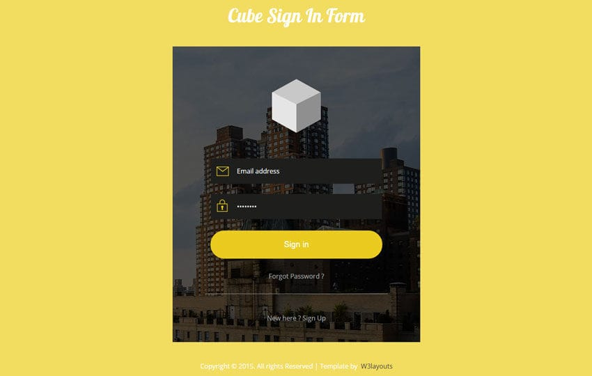 Cube Signin Form Flat Responsive Widget Template Mobile website template Free