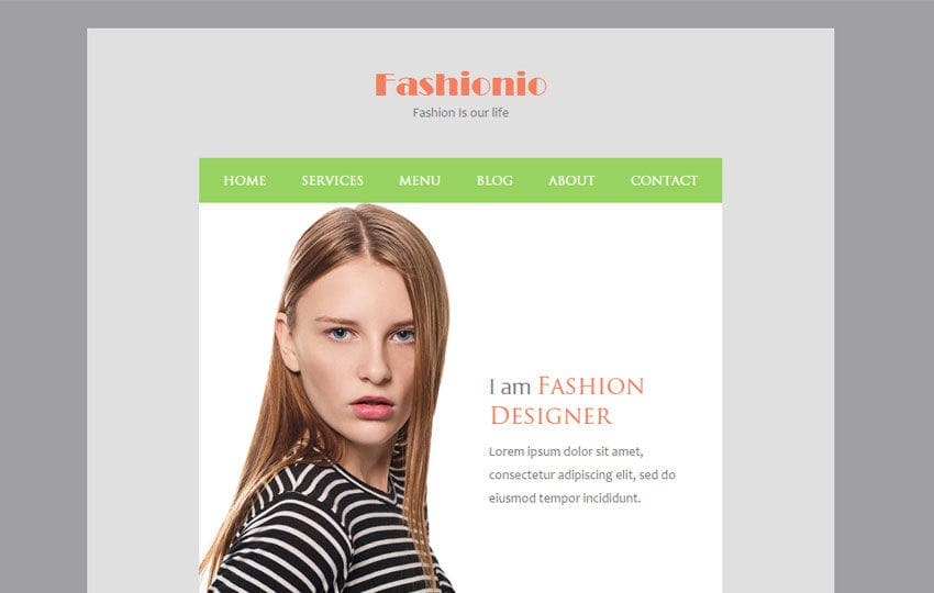 Fashionio a Newsletter Responsive Web Template Mobile website template Free