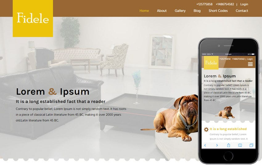Fidele a Animal Category Flat Bootstrap Responsive Web Template Mobile website template Free