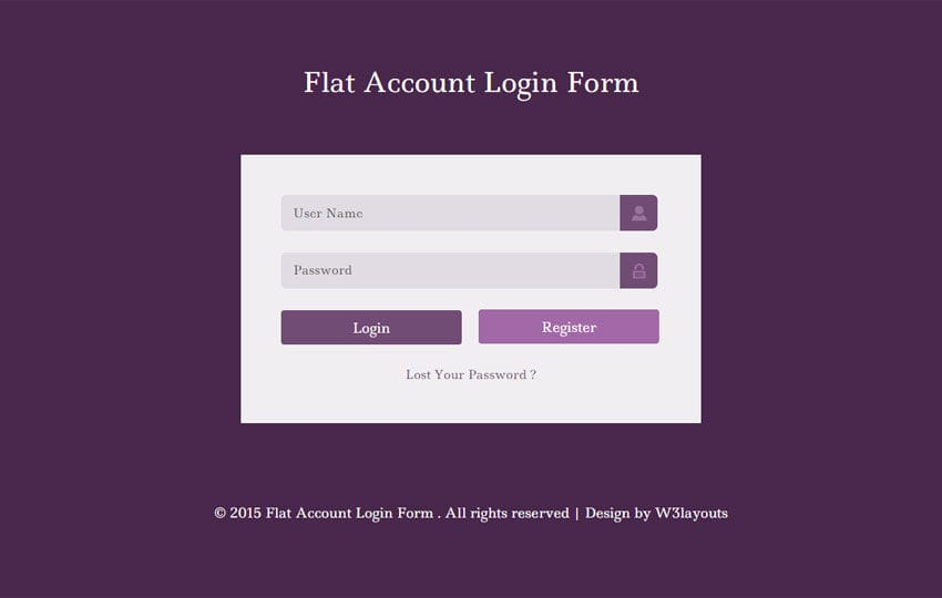 Flat Account Login Form Responsive Widget Template By