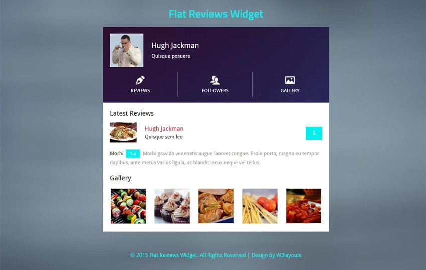 Flat Reviews Responsive Widget Template by w3layouts