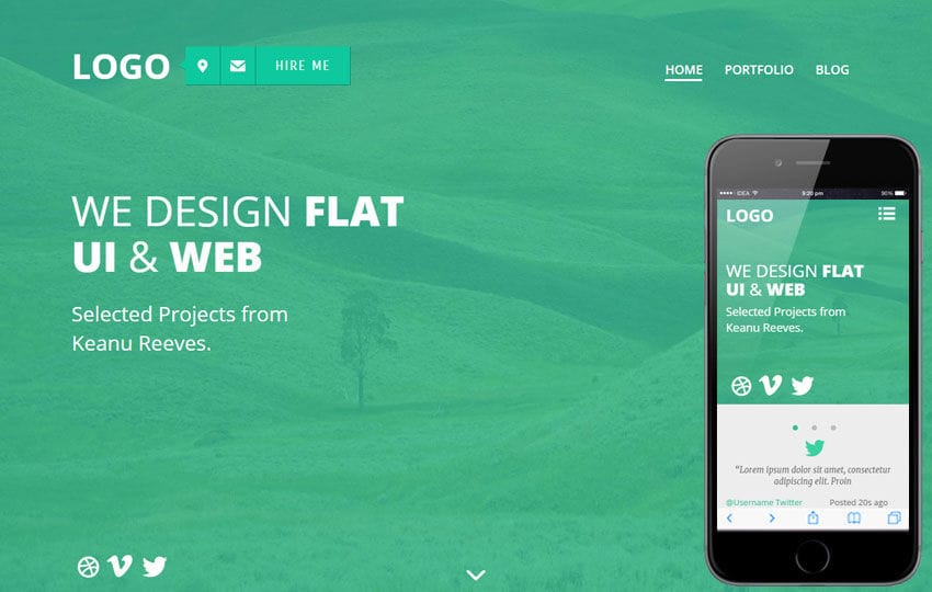 Flatter a Personal Portfolios Flat Bootstrap Responsive Web Template Mobile website template Free
