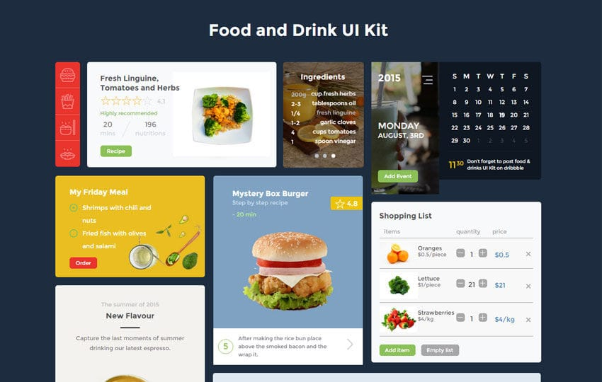 Food And Drink Ui Kit A Flat Bootstrap Responsive Web