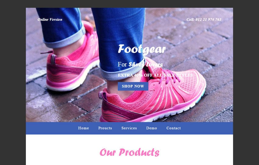 Foot Gear a Newsletter Responsive Web Template Mobile website template Free