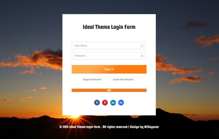 Ideal Theme Login Form Responsive Widget Template by w3layouts