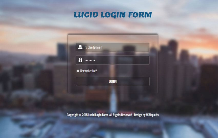 Lucid Login Form Responsive Widget Template