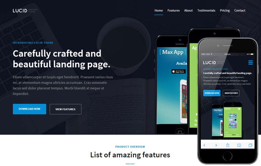 Lucid v1 a Mobile App Landing Flat Bootstrap Responsive Web Template Mobile website template Free