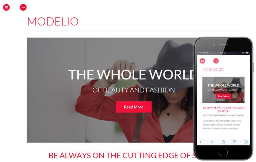 Modelio a Fashion Category Flat Bootstrap Responsive Web Template Mobile website template Free