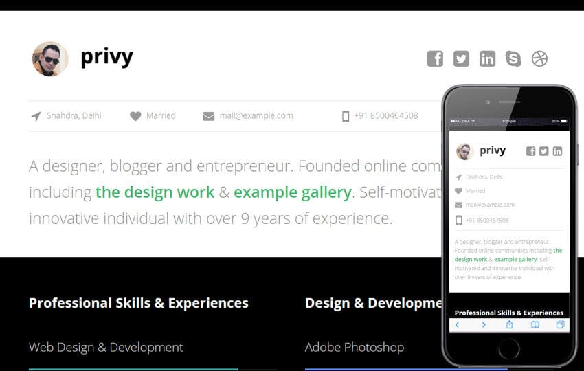 Privy a Personal Portfolio Flat Bootstrap Responsive Web Template Mobile website template Free