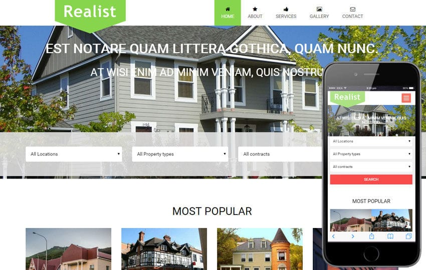 Realist a Real Estate Category Flat Bootstrap Responsive Web Template Mobile website template Free