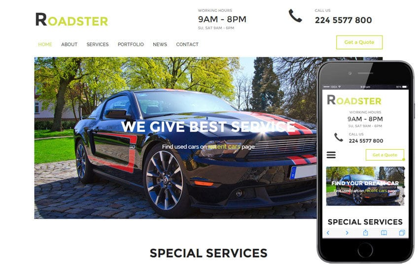 Roadster a Auto Mobile Category Flat Bootstrap Responsive Web Template Mobile website template Free