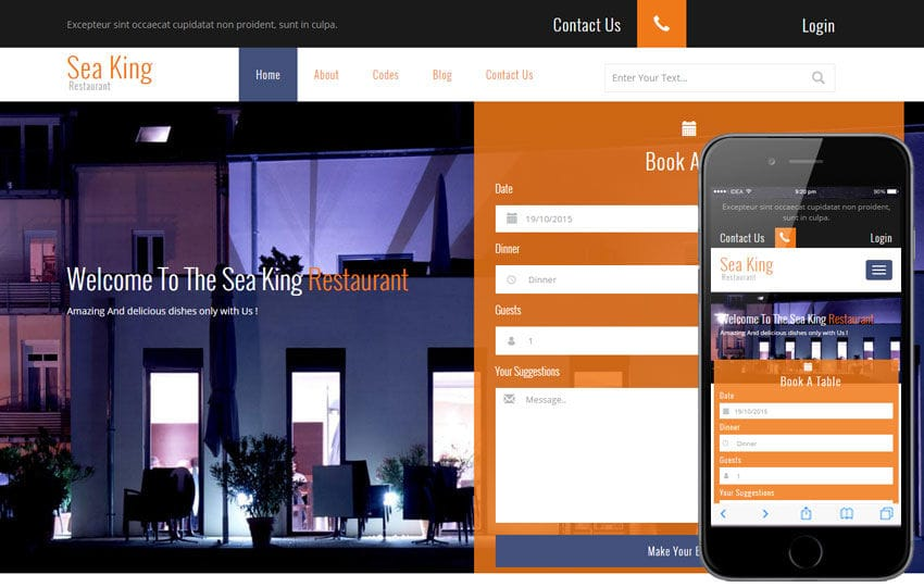 Sea King Restaurant a Hotel Category Flat Bootstrap Responsive Web Template Mobile website template Free