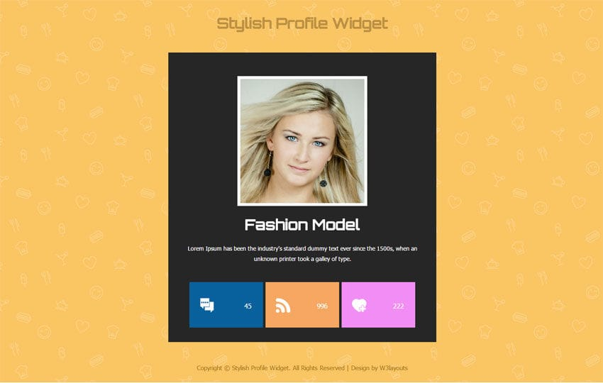 Stylish profile widget responsive template by w3layouts stylish profile widget responsive template maxwellsz