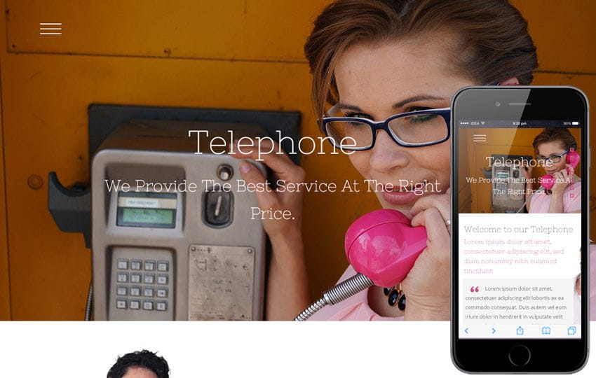 Telephone a Corporate Business Flat Bootstrap Responsive Web Template Mobile website template Free